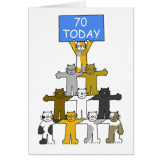 Cats celebrating 70th Birthday. Card