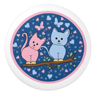 cats ceramic knob