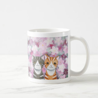 Cats Cherry Blossoms Mug Cute Tabby Cats Flowers