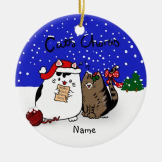 Cats Chorus - fun cat Christmas choir personalized Ceramic Ornament