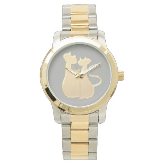 Cats Couple Classy Elegant Silhouette Love Golden Watch