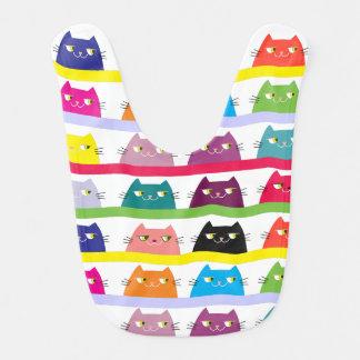 Cats Cute Neon Vibrant Colors Funny Cool Modern Bib