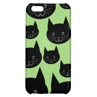 Cats Design in Black and Green. Case For iPhone 5C