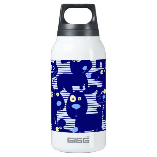 Cats - Dogs and Mice in Blue Insulated Water Bottle