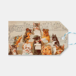 CATS & DOGS SINGING, Christmas Gift Tag