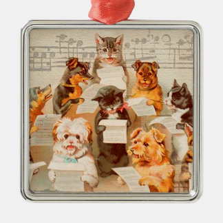 CATS & DOGS SINGING, Christmas Ornament