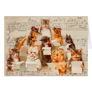 Cats & Dogs Singing, Vintage Arthur Thiele Card