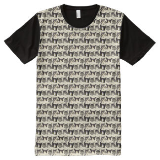 Cats Faces Pattern All-Over-Print T-Shirt