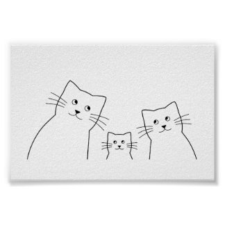 Cats family silhouette poster