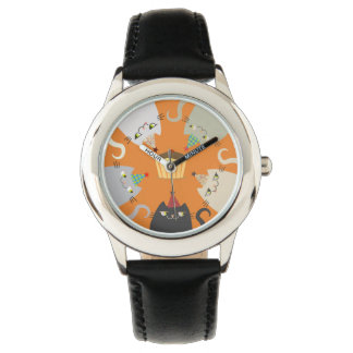 Cats Fat Colorful Hungry Cakes Sweet Food Cartoon Watch