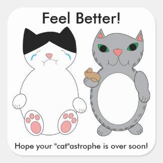 Cats Feel Better Encouragement Custom Square Sticker
