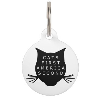 Cats First America Second Pet ID Tag