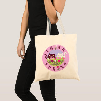 Cats Floral Tulips Pink Think Spring Funny Cute Tote Bag