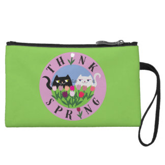 Cats Floral Tulips Purple Think Spring Funny Cute Wristlet