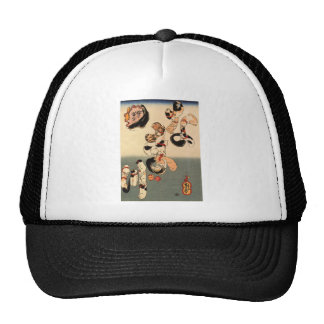 Cats forming the caracters for catfish by Utagawa Trucker Hat