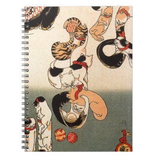 Cats forming the caracters for catfish by Utagawa Spiral Notebook