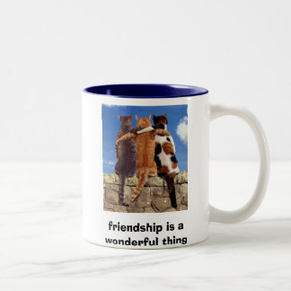 cats, friendship is a wonderful thing Two-Tone coffee mug