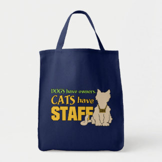 CATS HAVE STAFF tote bags
