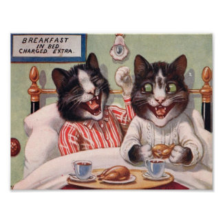 Cats Having Breakfast in Bed Poster