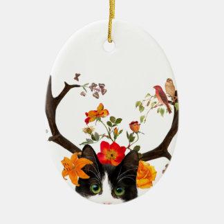 Cat's Horns Ceramic Ornament
