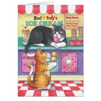 Cats Ice Cream Birthday Bud & Tony Notecard