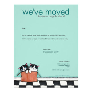 Cats in a Packing Box | We've Moved Announcement Letterhead