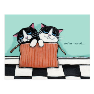 Cats in a Packing Box | We've Moved Announcement Postcard