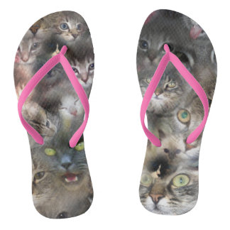 Cats In A Photo Collarge, Flip Flops