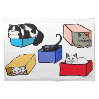 Cats in Colorful Boxes American MoJo Placemat