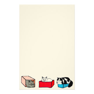 Cats in Colorful Boxes Stationery