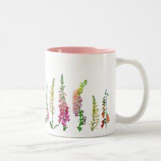 Cats in Foxglove Two-Tone Coffee Mug