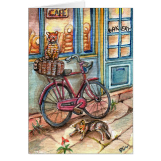 Cats in Front of Bakery Card