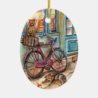 Cats in Front of Bakery Ceramic Oval Ornament