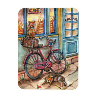 Cats in Front of Bakery Rectangular Photo Magnet