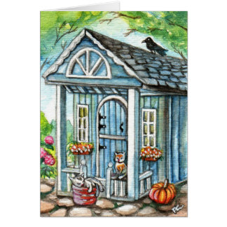 Cats in Front of Cottage House Card
