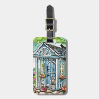 Cats in Front of Cottage House Luggage Tag