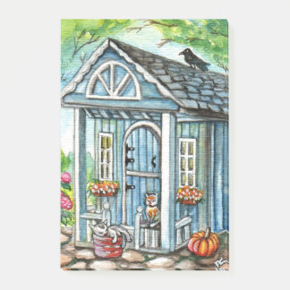 Cats in Front of Cottage House Post-it® Notes