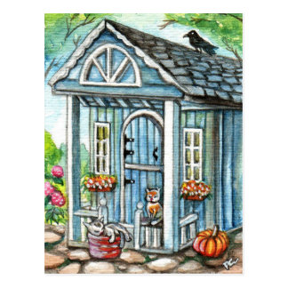 Cats in Front of Cottage House Postcard