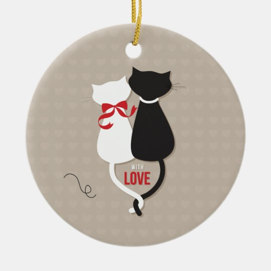 Cats in Love Ceramic Ornament