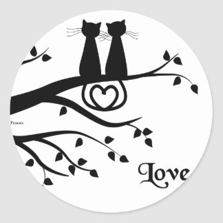 Cats in Love Classic Round Sticker