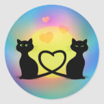 Cats In Love Classic Round Sticker