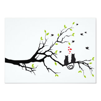 "Cats in love on tree with red hearts 5"" x 7"" invitation card"