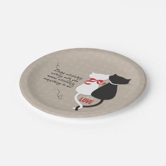 Cats in Love Paper Plate