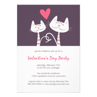 Cats in Love Purple | Valentine's Day Party Custom Announcements