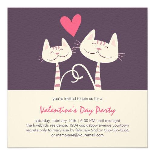 Cats in Love Purple | Valentine's Day Party Invite