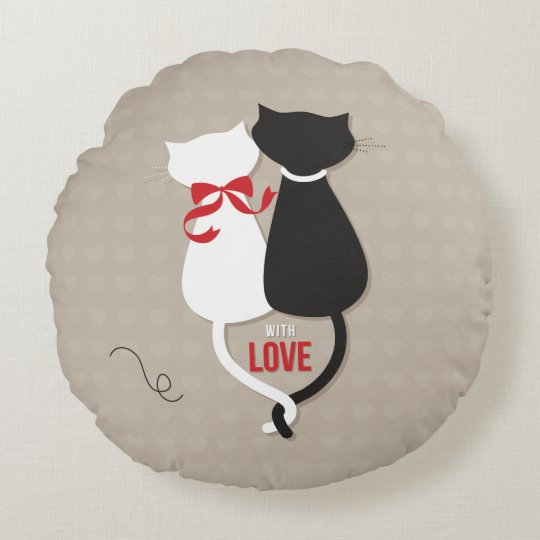 Cats in Love Round Pillow