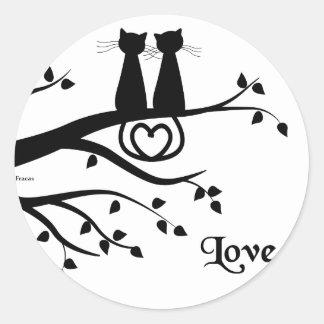 Cats in Love Round Sticker
