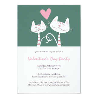 "Cats in Love Sage | Valentine's Day Party 5"" X 7"" Invitation Card"