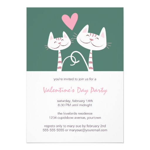 Cats in Love Sage | Valentine's Day Party Invite