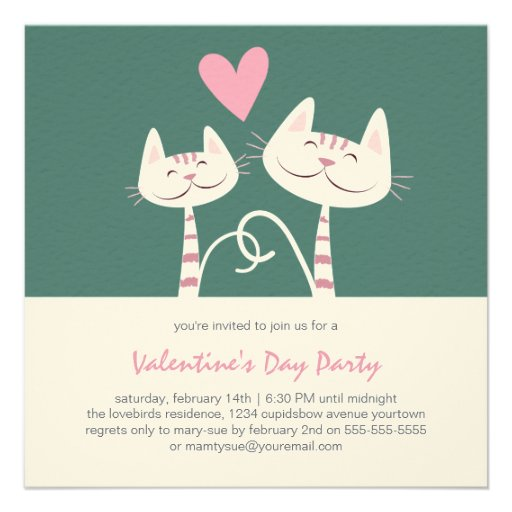 Cats in Love Sage | Valentine's Day Party Invitations